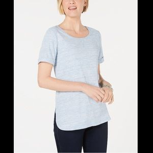 KAREN SCOTT SHIRTTAIL HEM SHORT SLEEVE TOP